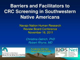 Barriers and Facilitators to         CRC Screening in Southwestern Native Americans