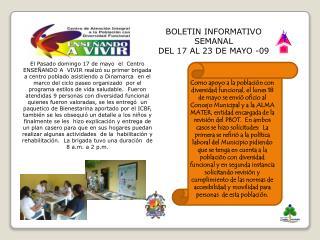 BOLETIN INFORMATIVO SEMANAL DEL 17 AL 23 DE MAYO -09