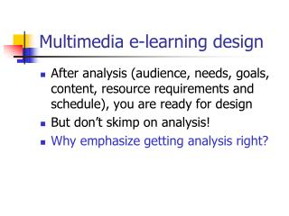 Multimedia e-learning design