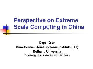 Perspective on Extreme Scale Computing in China