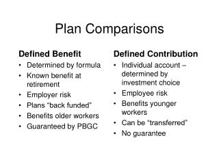 Plan Comparisons
