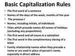 Basic Capitalization Rules