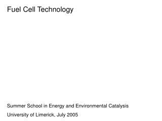 Fuel Cell Technology Summer School in Energy and Environmental Catalysis
