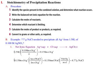 Stoichiometry of Precipitation Reactions Procedure