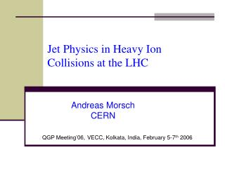 Jet Physics in Heavy Ion Collisions at the LHC