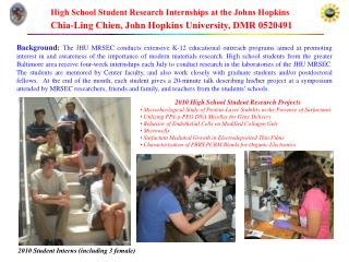 2010 High School Student Research Projects