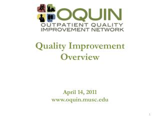 Quality Improvement Overview April 14, 2011 oquin.musc