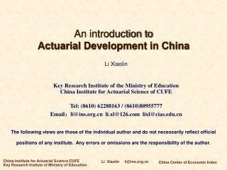 An introduction to  Actuarial Development in China