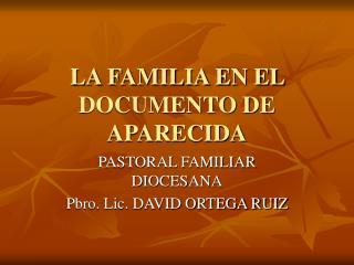LA FAMILIA EN EL DOCUMENTO DE  APARECIDA