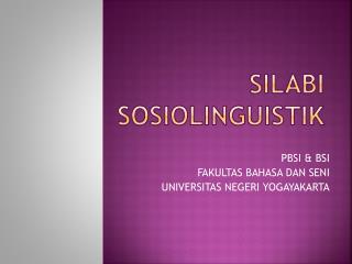 SILABI SOSIOLINGUISTIK