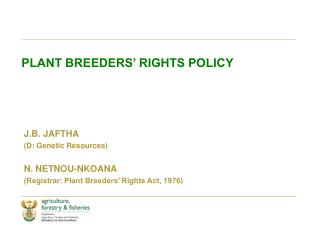 PLANT BREEDERS' RIGHTS POLICY