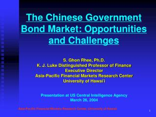 The Chinese Government Bond Market: Opportunities and Challenges