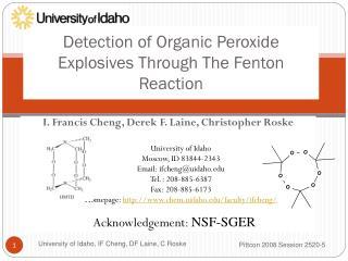 Detection of Organic Peroxide Explosives  Through The  Fenton  Reaction