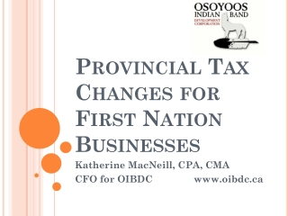 TAX ISSUES AND FIRST NATIONS