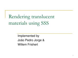 Rendering translucent materials using SSS
