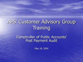 APS' Customer Advisory Group Training