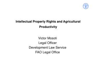Intellectual Property Rights and Agricultural Productivity