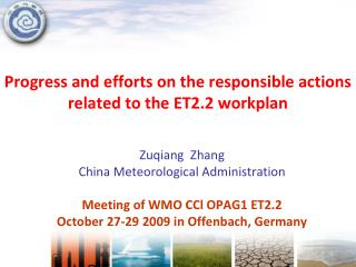 Progress and efforts on the responsible actions  related to the ET2.2 workplan