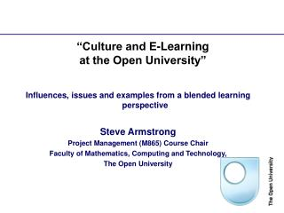 """Culture and E-Learning  at the Open University"""