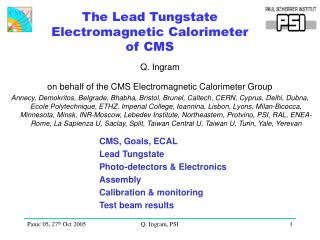 The Lead Tungstate Electromagnetic Calorimeter of CMS