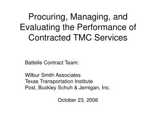 Procuring, Managing, and Evaluating the Performance of Contracted TMC Services