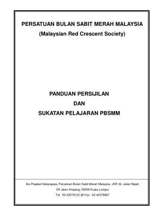 PERSATUAN BULAN SABIT MERAH MALAYSIA (Malaysian Red Crescent Society)
