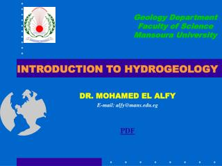 INTRODUCTION TO HYDROGEOLOGY