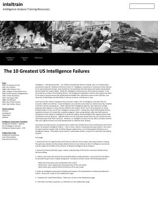 inteltrain Intelligence Analysis Training Resources