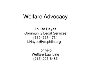 Welfare Advocacy