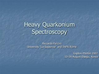 Heavy Quarkonium Spectroscopy