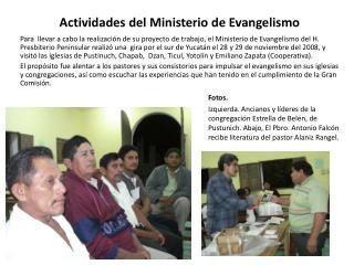 Actividades del Ministerio de Evangelismo