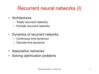 Recurrent neural networks I