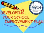 DEVELOPING    YOUR SCHOOL     IMPROVEMENT PLAN