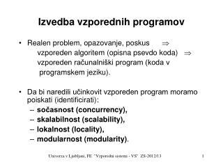 Izvedba vzporednih programov