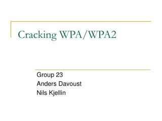 Cracking WPA