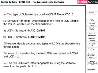Service Bulletin – C3010  LCD – two types and related software