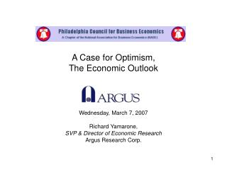A Case for Optimism, The Economic Outlook