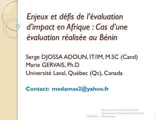 Enjeux et défis de l'évaluation d'impact en Afrique: Cas d'une évaluation réalisée au Bénin