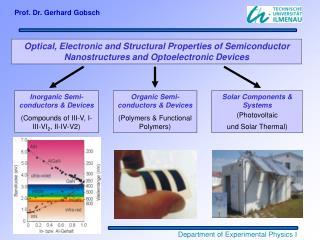 Inorganic Semi-conductors & Devices (Compounds of III-V, I-III-VI 2 , II-IV-V2)