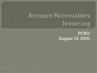 Account Receivables Invoicing