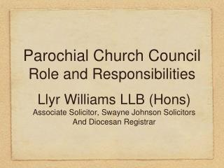Parochial Church Council Role and Responsibilities