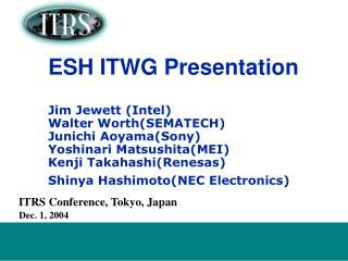 ITRS Conference, Tokyo, Japan