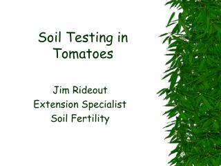 Soil Testing in  Tomatoes