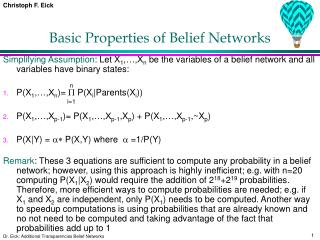 Basic Properties of Belief Networks