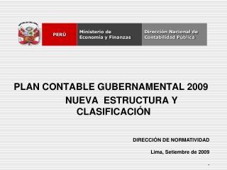 PLAN CONTABLE GUBERNAMENTAL 2009       NUEVA  ESTRUCTURA Y CLASIFICACIÓN