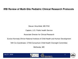 IRB Review of Multi-Site Pediatric Clinical Research Protocols