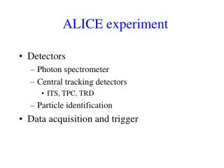 ALICE experiment