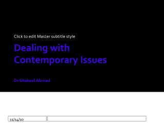 Dealing with  Contemporary Issues Dr Shakeel Ahmad