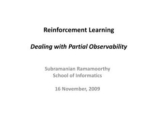 Reinforcement Learning Dealing with Partial Observability
