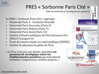 PRES «Sorbonne Paris Cité» (Pôle de recherche et d'enseignement supérieur)